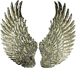 1 Pair Embroidered iron on patches for clothes Wings design sequins Motif Applique,5.1