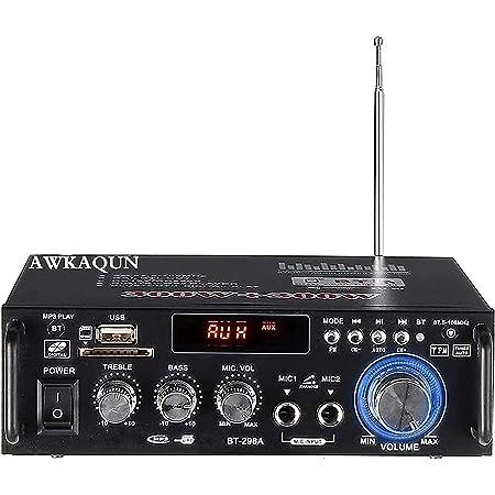 Mini Bluetooth Amplificador Audio, 600W HiFi de 2.0 Canales Audio Stereo Music Reproductor, SD Card/USB Input/ FM Radio, para PC, TV, Amplificador Coche, casa Altavoz, subwoofer BT 12v 220V