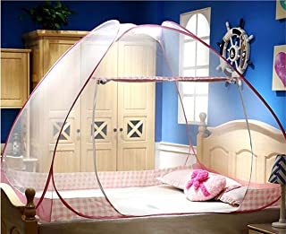 CdyBox Folding Yurt Mosquito Net Tent Canopy Curtains for Beds Kids Playpen Home Decor (1.5X2.0m, Pink)