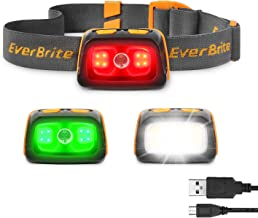 EverBrite Rechargeable Headlamp - 350 Lumens Headlight with Red/Green Light and Tail Light, 7 Lighting Modes with Memory Function, IPX4 Water Resistant Perfect for Trail Running, Camping and Hiking