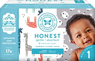 The Honest Company Club Box - Size 1 - Pandas & Safari Print with TrueAbsorb Technology Plant-Derived Materials Hypoallerg...