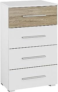 Rauch Möbel Tarragona Commode 4 tiroirs en chêne blanc alpin clair 47 x 42 x 81 cm