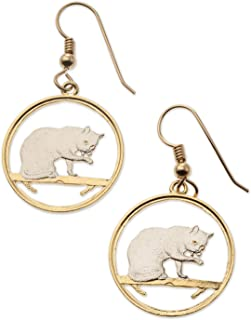 British Blue Cat Earrings, Isle of Man Coin Hand Cut, 14 Karat Gold and Rhodium Plated