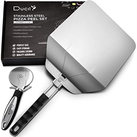 DUCIL Stainless Steel Pizza Peel With Foldable Handle for Easy Storage, Premium Metal Pizza Paddle for Baking and Slicing Homemade Pizza Bread, Space Saver Pizza Spatula With Pizza Cutter