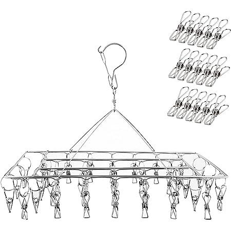 Ruesious Étendoir à Linge à Suspendre avec 36 Pinces en Acier Inoxydable à l'épreuve du Vent pour Chaussettes/sous-vêtements/vêtements/Serviettes