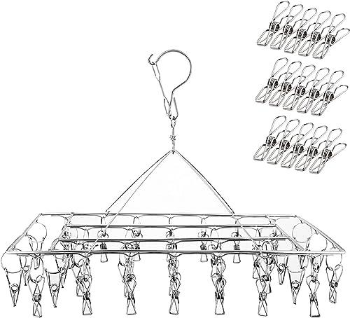Ruesious Étendoir à Linge à Suspendre avec 36 Pinces en Acier Inoxydable à l'épreuve du Vent pour Chaussettes/sous-vê...