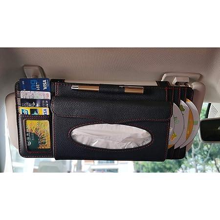 1 Glasses Holder Gunuine Leather Auto Vehicle Sun Visor Organizer with 10 CD Slots 1 Pen Holder 1 Money Pocket 4 Credit Card Pockets