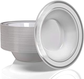 Stock Your Home 12 Oz Fancy Disposable Dinner Bowls for Holidays, Parties, Weddings, Catering, 50 Bowls (Silver)