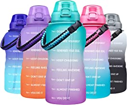 Giotto Large 1 Gallon Motivational Water Bottle with Paracord Handle & Removable Straw - Leakproof Tritan BPA Free Fitness...