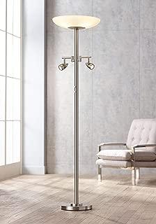 Ventura Light Blaster Modern Floor Lamp with Side Lights LED Brushed Nickel Opal White Glass Bowl for Living Room Reading Bedroom Office Uplight - Possini Euro Design