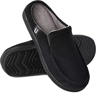 LongBay Men's Cosy Micro Terry Slippers Memory Foam Breathable Slip on Clog House Shoes Indoor Outdoor Rubble Sole