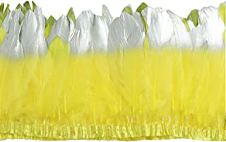 MOPOLIS 2 yards Goose feather trim fringe use for sewing crafts costumes 6-8 inches | Colors - yellow
