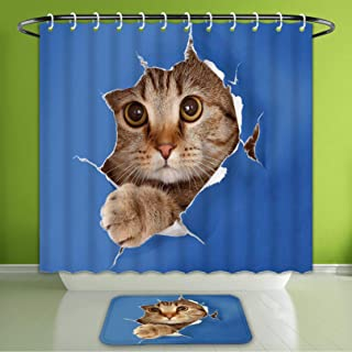 Waterproof Shower Curtain and Bath Rug Set Animal Cute Kitten in Paper Hole Paws Playful Scottish Cat Adorable Pet Picture Bath Curtain and Doormat Suit for Bathroom Extra Long Size 72