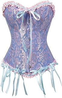 Corsets Floral Lace Tops Women Plus Size Vintage Sexy Corsets Gothic Satin Lingerie Underwear (Color : Blue, Size : XX-Large)