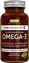 Pure & Essential Omega-3 Wild Fish Oil & Vitamin D3, High Strength Omega-3 EPA & DHA, Triglyceride, Lemon, 60 Capsules