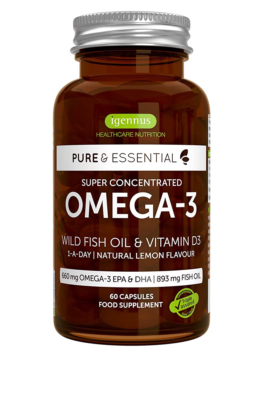 Pure Essentials Omega-3 Wild Fish Oil & Vitamin D3, High Strength Omega-3 EPA & DHA, Triglyceride, Lemon, 60 Capsules