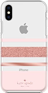 Kate Spade New York Phone Case | For Apple iPhone X and 2018 iPhone XS | Protective Phone Cases with Slim Design, Drop Protection, and Floral Print - Charlotte Stripe Rose Gold Glitter / Blush / Clear
