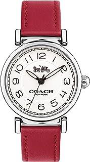 ساعة كوتش للنساء - انالوج بسوار من جلد البقر ذو اللون القرمزي- 14502861