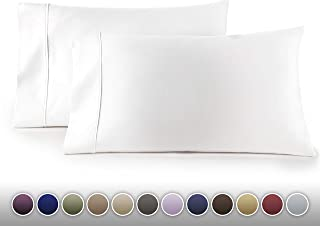 HC COLLECTION Luxury 1500 Series 2pc Set of Pillow Cases, Brushed Microfiber, Silky Soft & Wrinkle Free (Fits Queen)- Standard Size/White