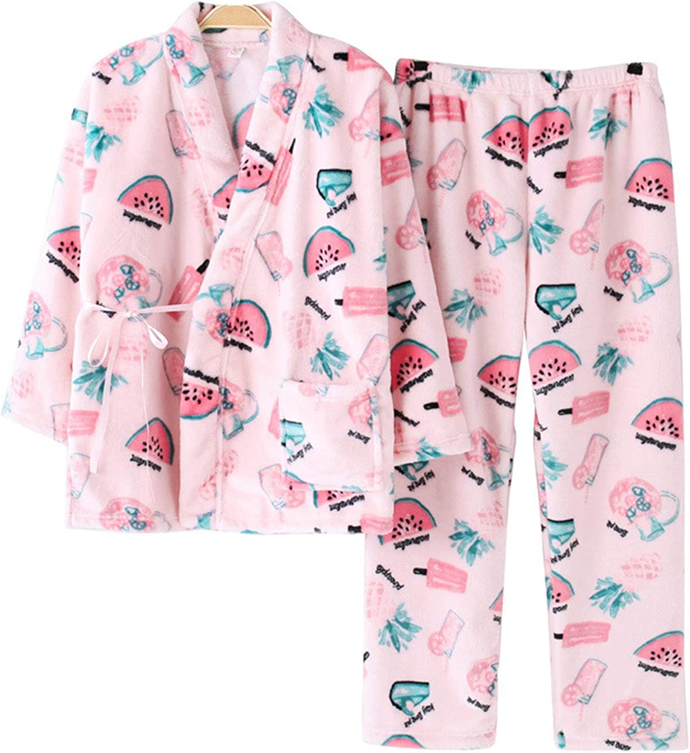 AIBAB Winter Flannel Pajamas Plus Velvet Thickening Kimono Bathrobe Coral Velvet Home Service Suit