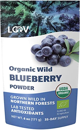 LOOV Organic Wild Blueberry Powder, Wild-Crafted from Nordic Forests, 100% Whole Fruit Bilberry, 35-Day Supply, 171 g...