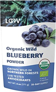 LOOV Organic Wild Blueberry Powder, Wild-Crafted from Nordic Forests, 100% Whole Fruit Bilberry, 35-Day Supply, 171 grams,...