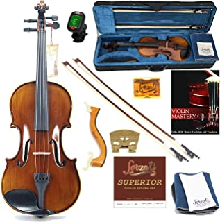 Forzati FZV600 1/2 Half Size Violin Set, Superior Handcrafted Violins, Kids Violin, Hand-Varnished, 2 Bows, String Set, Ebony, Case, Shoulder Rest, for Beginners, Intermediate to Advanced Players