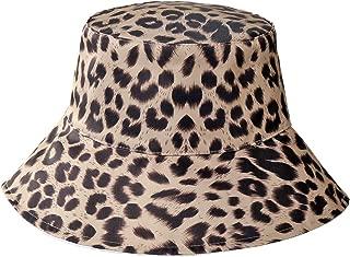 Womens Leopard Printed Cotton Bucket Hat Summer Beach Sun Hats