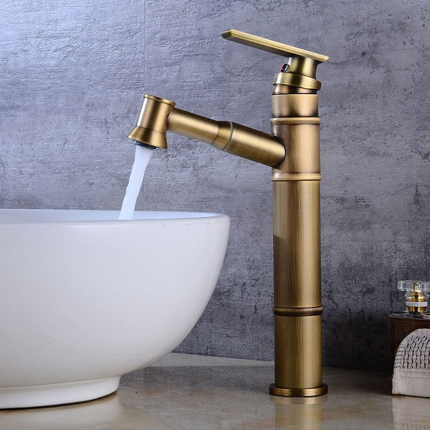 AQMMi Basin Taps Bathroom Sink Faucet Antique Pull-Out 1 Hole Hot and Cold Water Single Lever Single Lever Bathroom Sink Faucet Basin Mixer Tap
