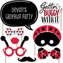 Big Dot of Happiness Custom Happy Little Ladybug - Photo Booth Props - Personalized Baby Shower or Birthday Party Supplies - 20 Selfie Props
