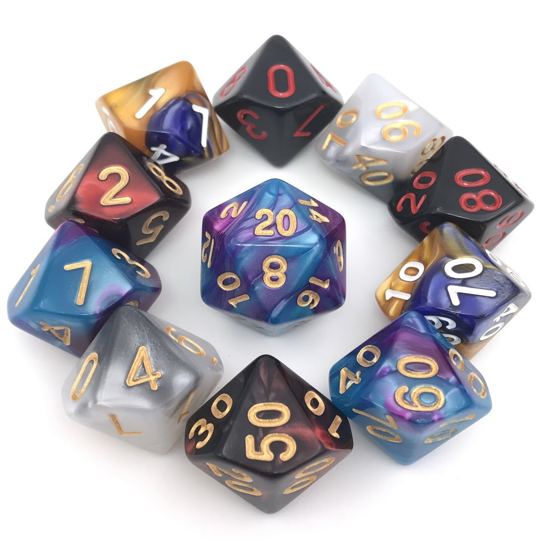 Amazon Com Assorted Polyhedral Dice Set With Black Drawstring Bag 5 Complete Dice Sets Of D4 D6 D8 D10 D D12 D20 Great For Dungeons And Dragons Dnd Rpg Mtg Games Toys