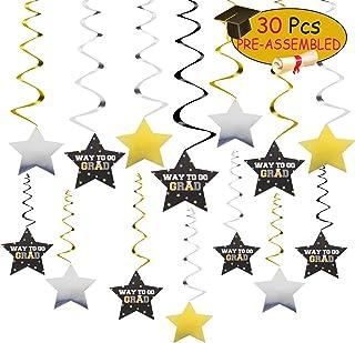 waway Congrats Grad Banner 2021 Graduation Party Decorations Swirl Streamers Way to Go Grad Gold Glitter Foil Star Hanging...
