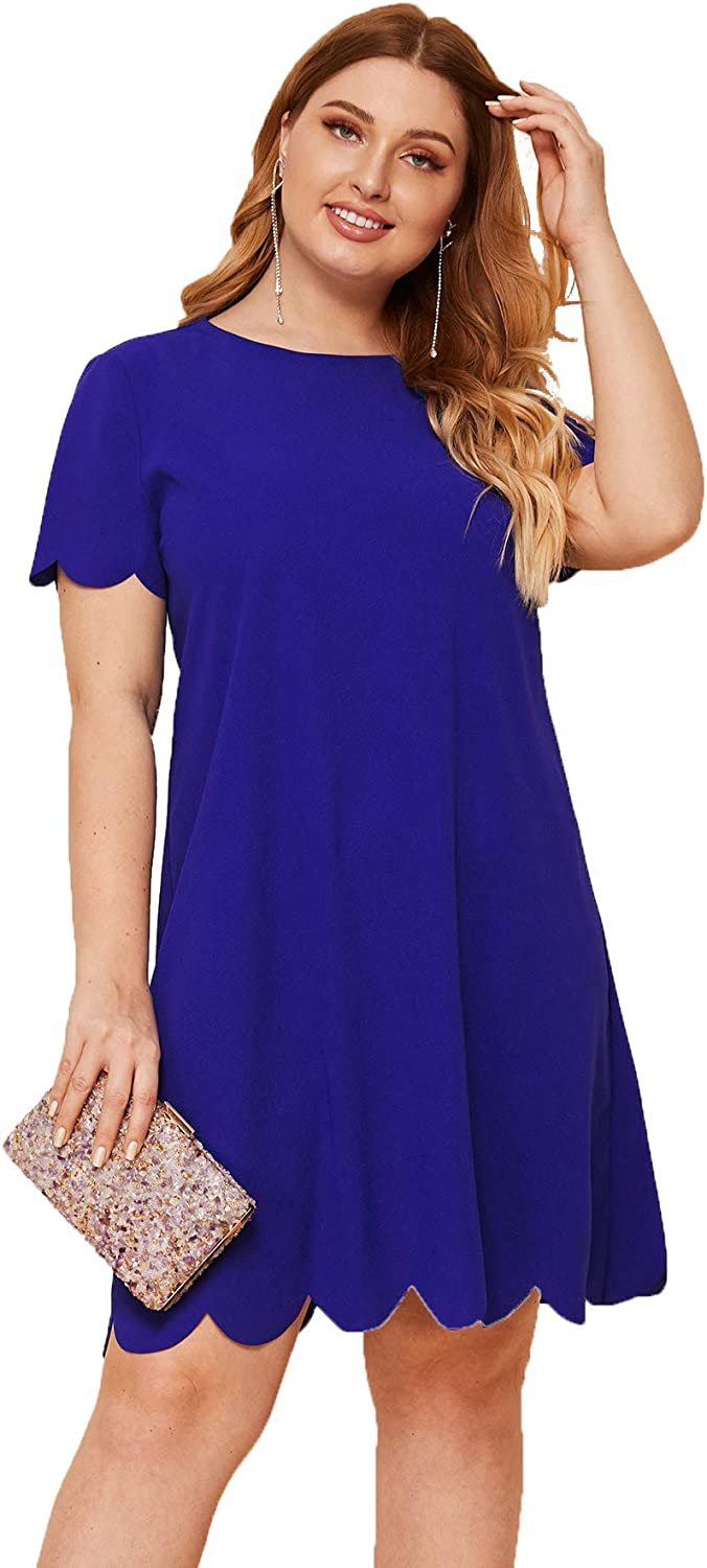 Romwe Women's Plus Size Scallop Trim Short Sleeve Solid Color Loose Party Tunic Dress