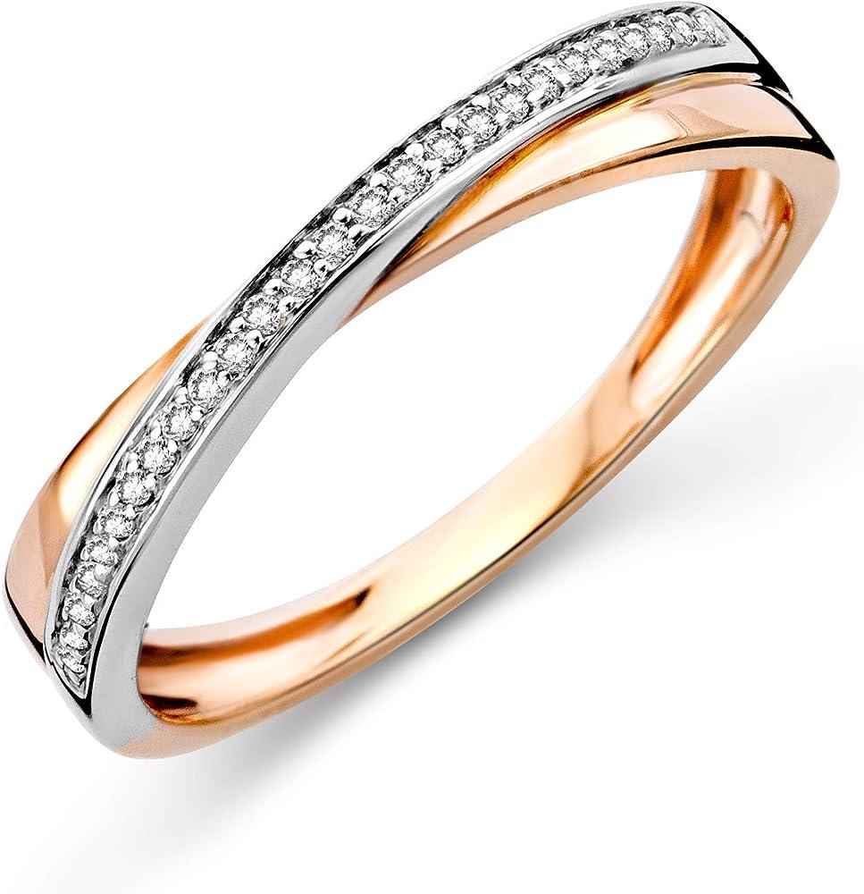 Miore - anello da donna in oro bianco e oro rosa 9 carati / 375 (1.8 g)  con diamante incrociato 0,08 ct MF9174R52
