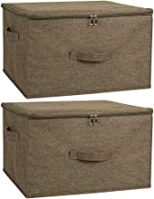 ANMINY 2PCS Storage Bins with Zipper Lid Handles Storage Boxes PP Plastic Board Foldable Lidded Cotton Linen Fabric Home C...