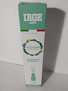 IRGE Désodorisant pour ambiance diffuseur avec baguettes parfum musc blanc 125 ml Italie
