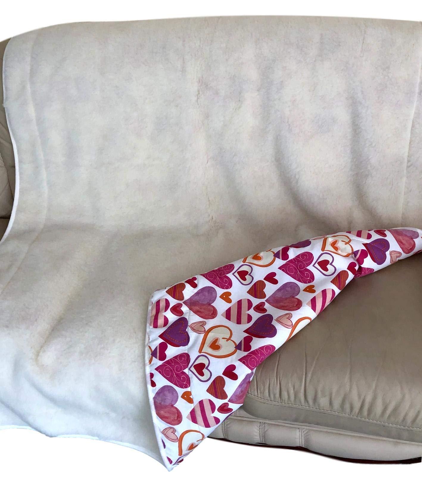 Kinderdecke Babydecke mit Kaschmiranteil Größen versch weiß mit braunem Band