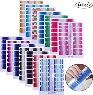 14 Sheets Nail Stickers, Pure color Shine Full Wraps Self-Adhesive Nail Art Adhesive Decals Nail Art Tips Stickers False Nail Design Manicure Designs for Women Girls