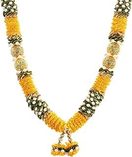 Decoration Craft Fabric Garland (13 Inch + Ribbon, Golden Yellow & Green)