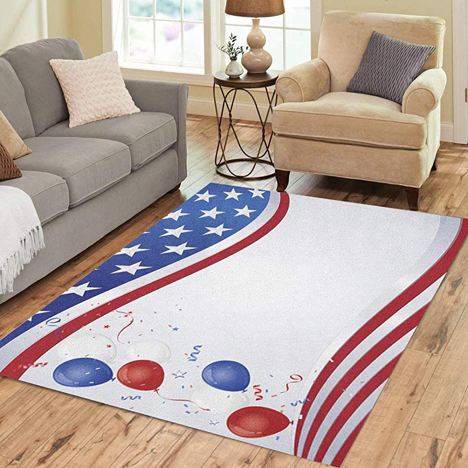Pinbeam Area Rug American Red White and Blue Flag Wave Party Home Decor Floor Rug 5' x 7' Carpet