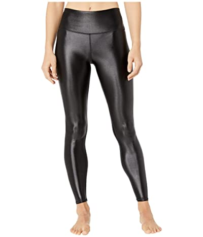 ALO High Waist Shine Airbrush Leggings (Black Shine) Women