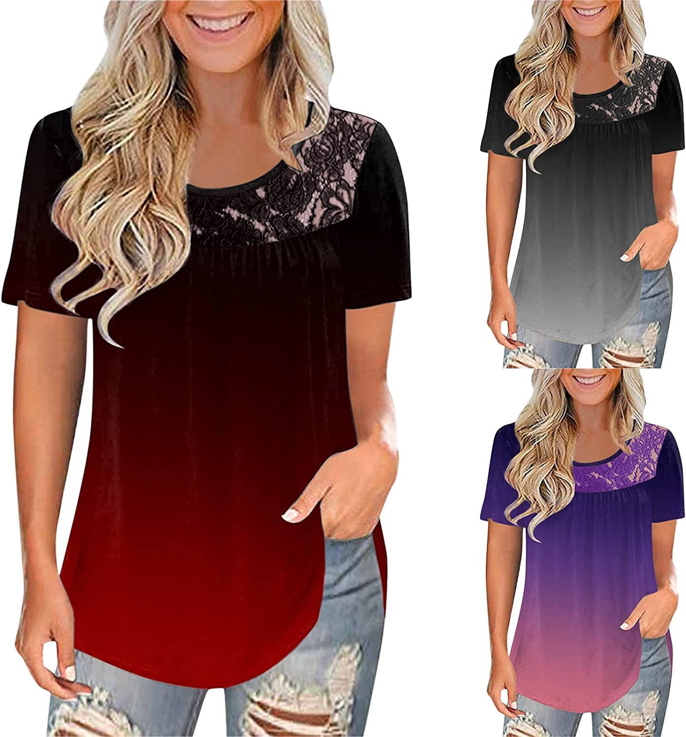AODONG Tops for Women Sexy Casual Womens Tops Short Sleeve,Womens Casual T Shirts Short Sleeve V Neck Tunic Front Cross T-Shirts Tops Loose Blouse Red