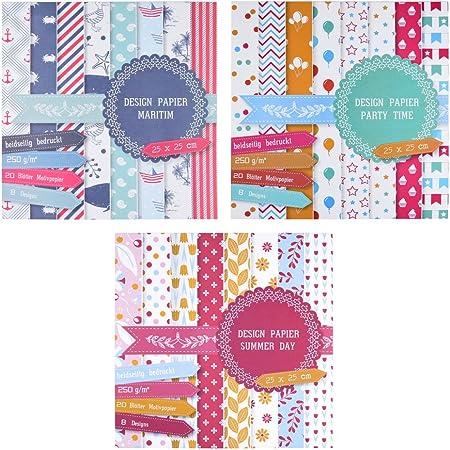 3kits de 20feuilles imprimées recto-verso - Papier design, à bricolage ou décor - Total de 60feuilles et 24designs
