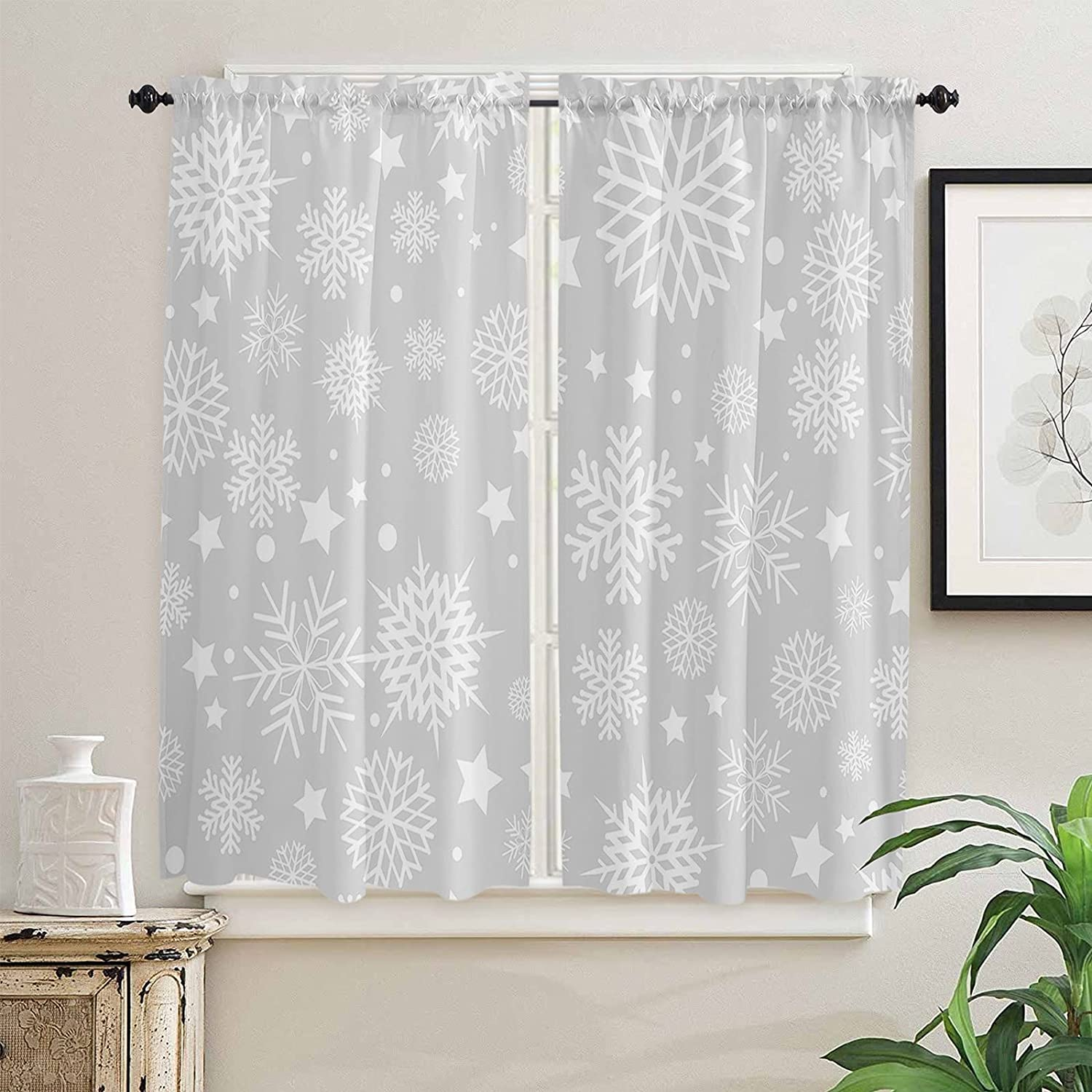 Christmas Kitchen Curtains 63 Inch El Paso Mall for Windows half Length Winter Wh