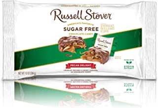 Russell Stover Sugar-Free Pecan Delight Laydown Bag 10 Ounce Russel Stover Sugar-Free Candy, Chocolate Candy Pack, Pecans and Buttery Caramel Covered In Chocolate Candy, Sweetened with Stevia