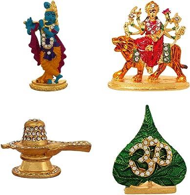 ART N HUB 5 Combo of 4 Brass Statue God Krishna, Durga JEE, Lord Shivling, Leaf Om Idol Pooja Mandir/Home Temple & Car Dash Board Showpiece Gift Item