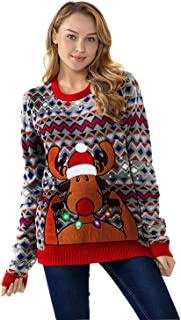 Unisex Women's Christmas Ugly Sweater Funny LED Light-up Flashing Pullover Knit Santa Reindeer Festive Sweatshirt for Party