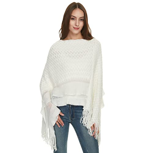 a634af9ee0fa Ferand Women s Cable Knit Ruffle Poncho Sweater with Fringed Hems
