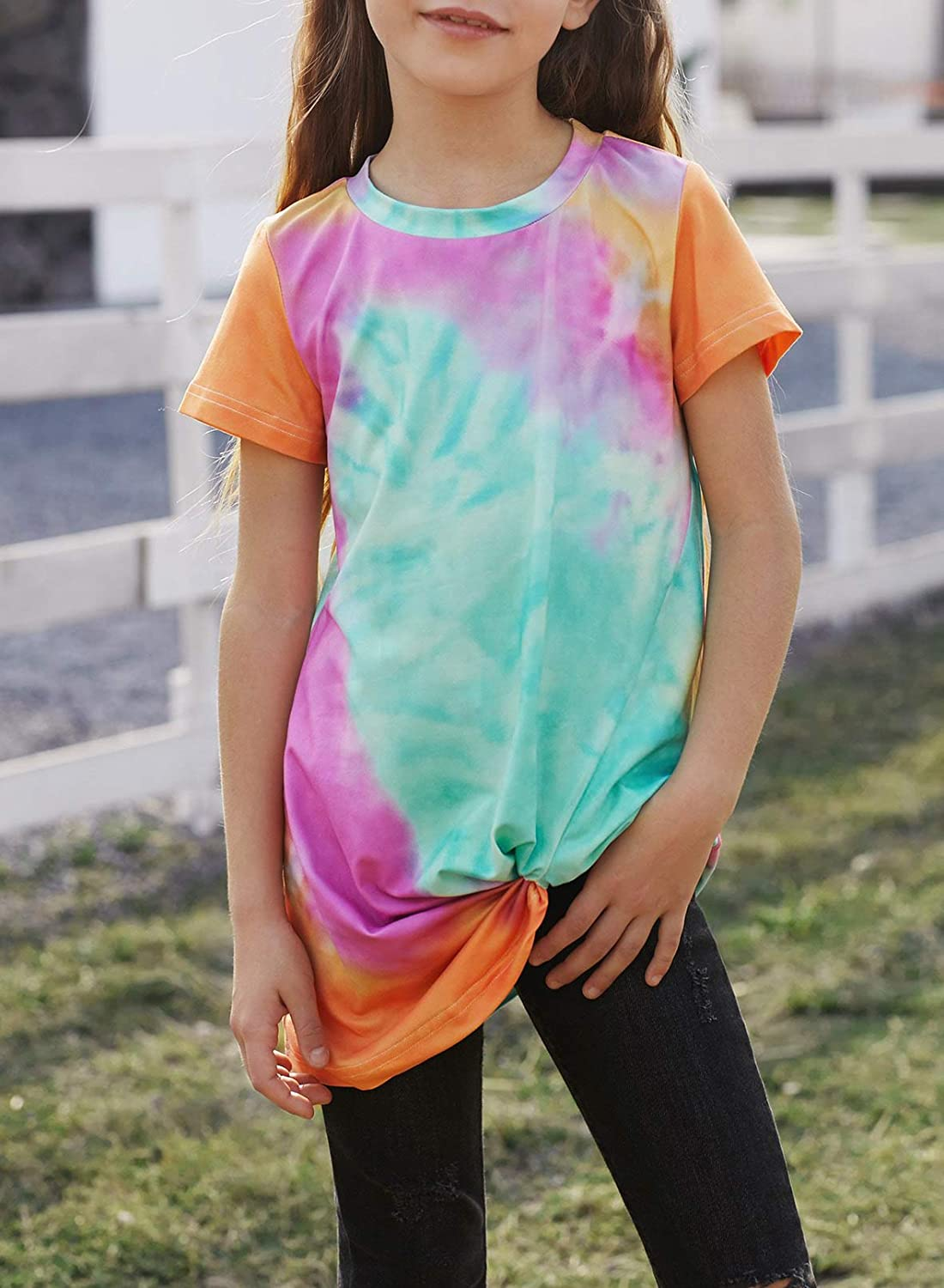 Sidefeel Girls Cute Loose Short Sleeve Stripe Print Side Button Tops Tee Shirts Size 4-13