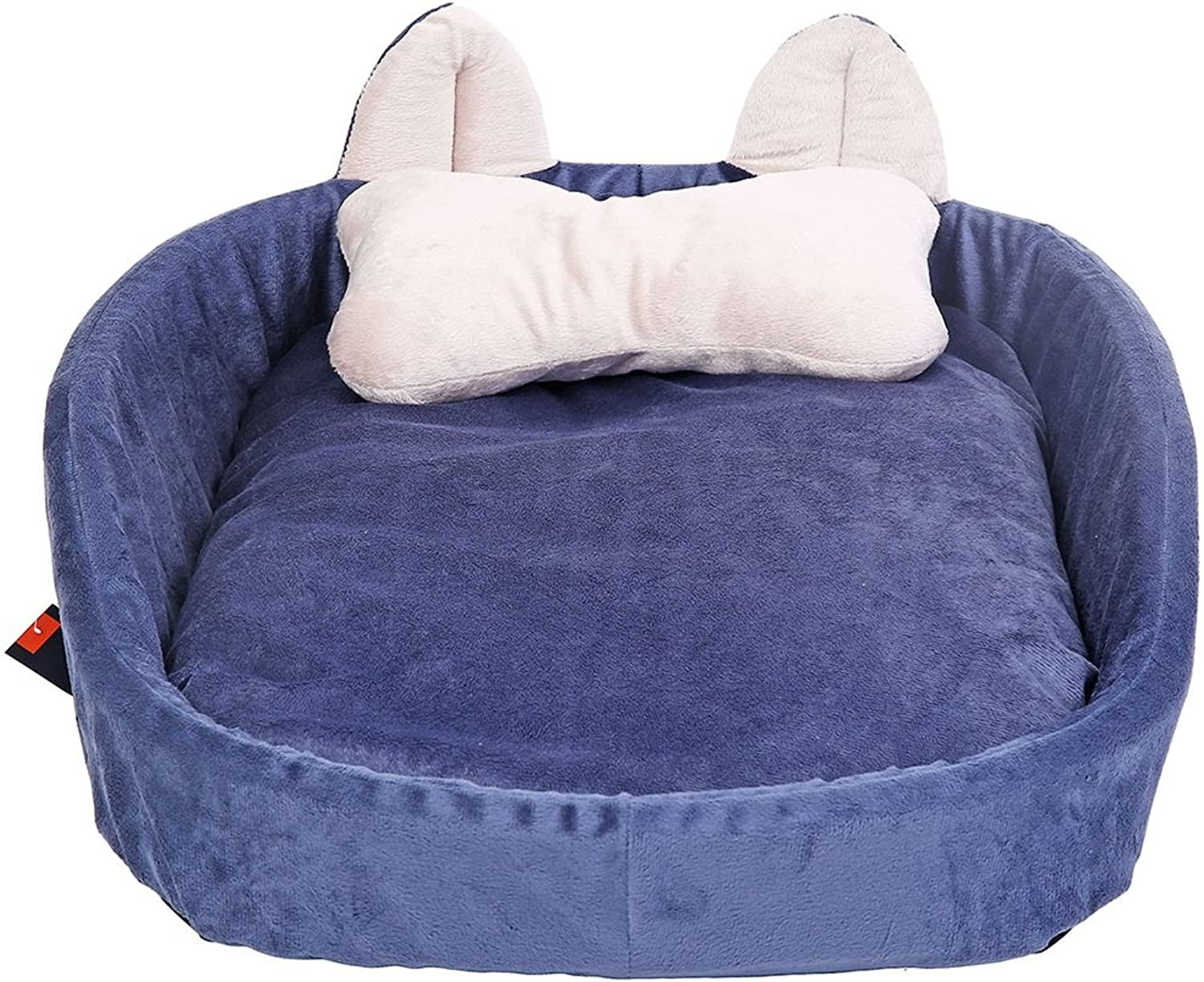 Pet bed Washable bluee Round PP Cotton Threedimensional Nesting Dog Hole Bed Pet Cats and Dog Beds (Size   75cm)
